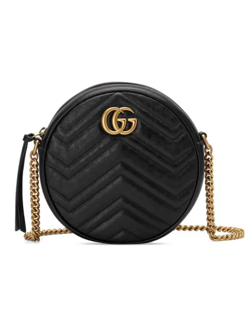 Gucci Mini Marmont 2.0 Leather Canteen Shoulder Bag In 1000 Nero