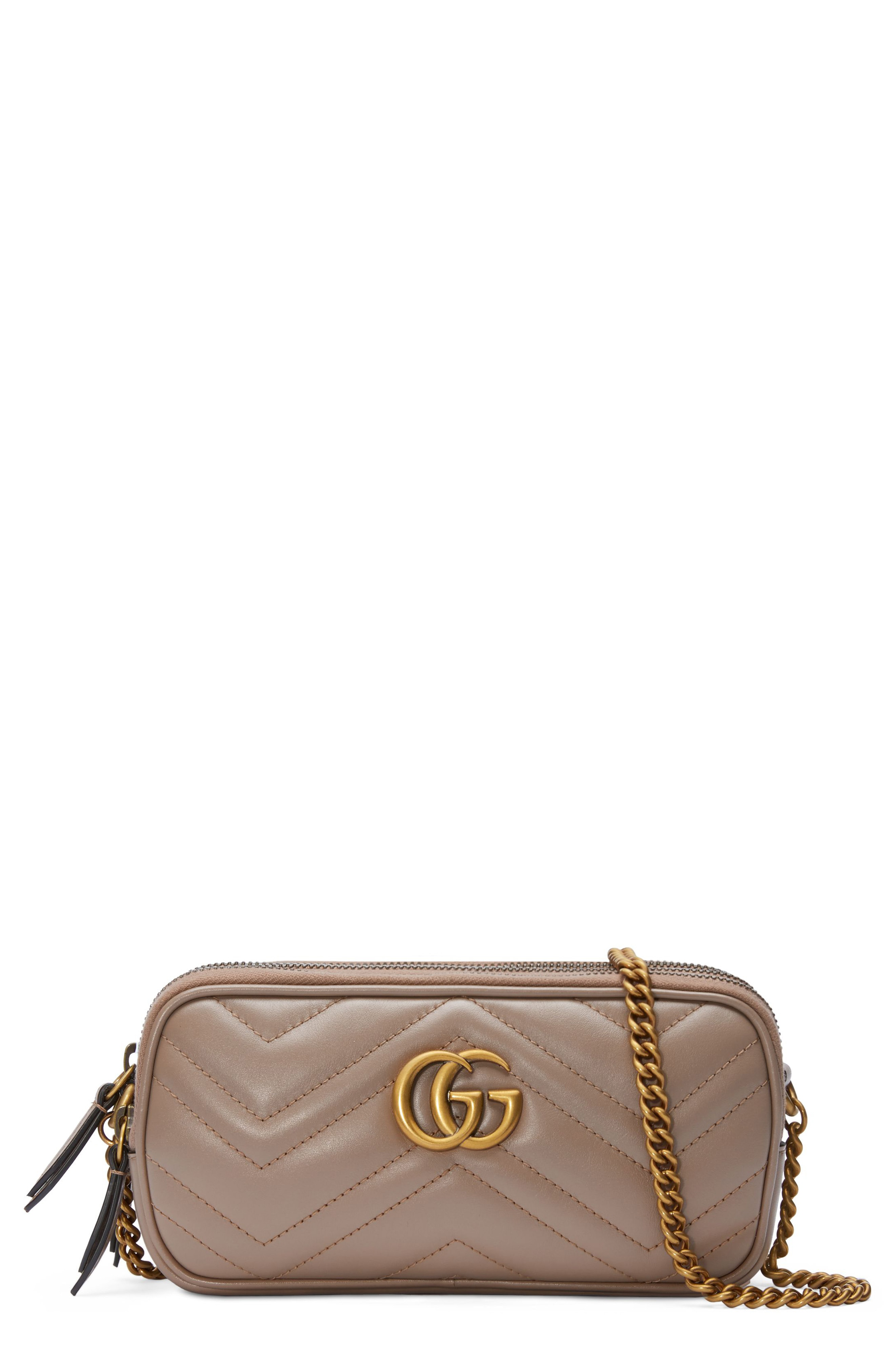 8bb0335d078f Gucci Marmont 2.0 Leather Crossbody Bag - Beige In Porcelain Rose ...