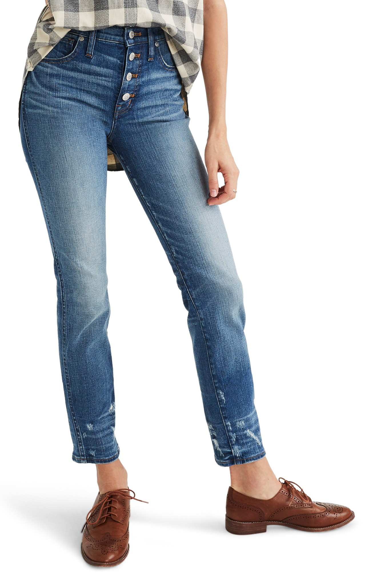535746c0428e4e Madewell Distressed Button Front High Waist Slim Straight Jeans In Caroline