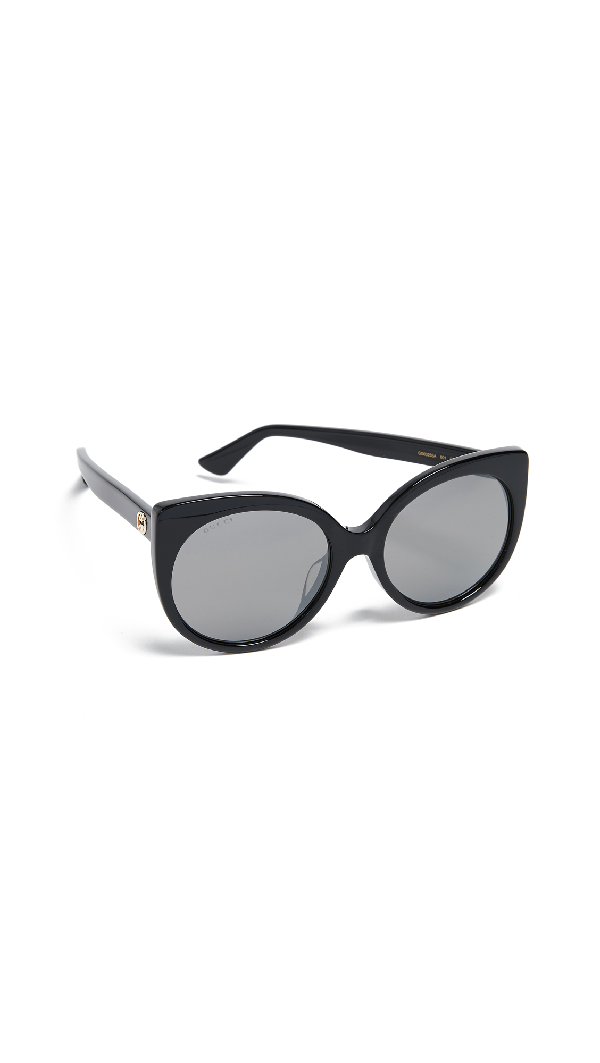 Gucci 54Mm Cat Eye Sunglasses - Black/ Grey Gradient In Black/Grey Mirror Gun