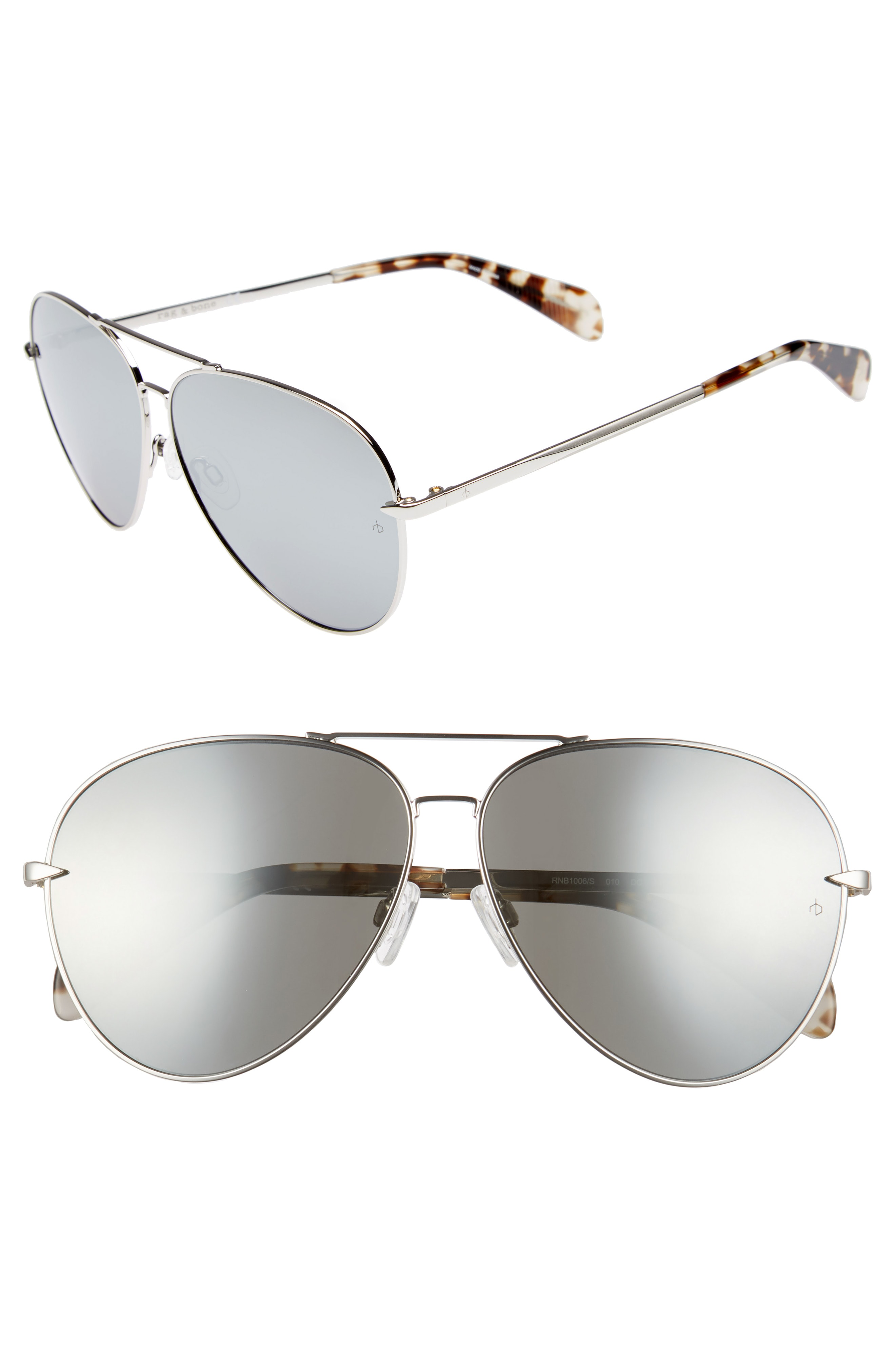 3b7785ab5cd2 Rag   Bone 63Mm Oversize Aviator Sunglasses - Palladium