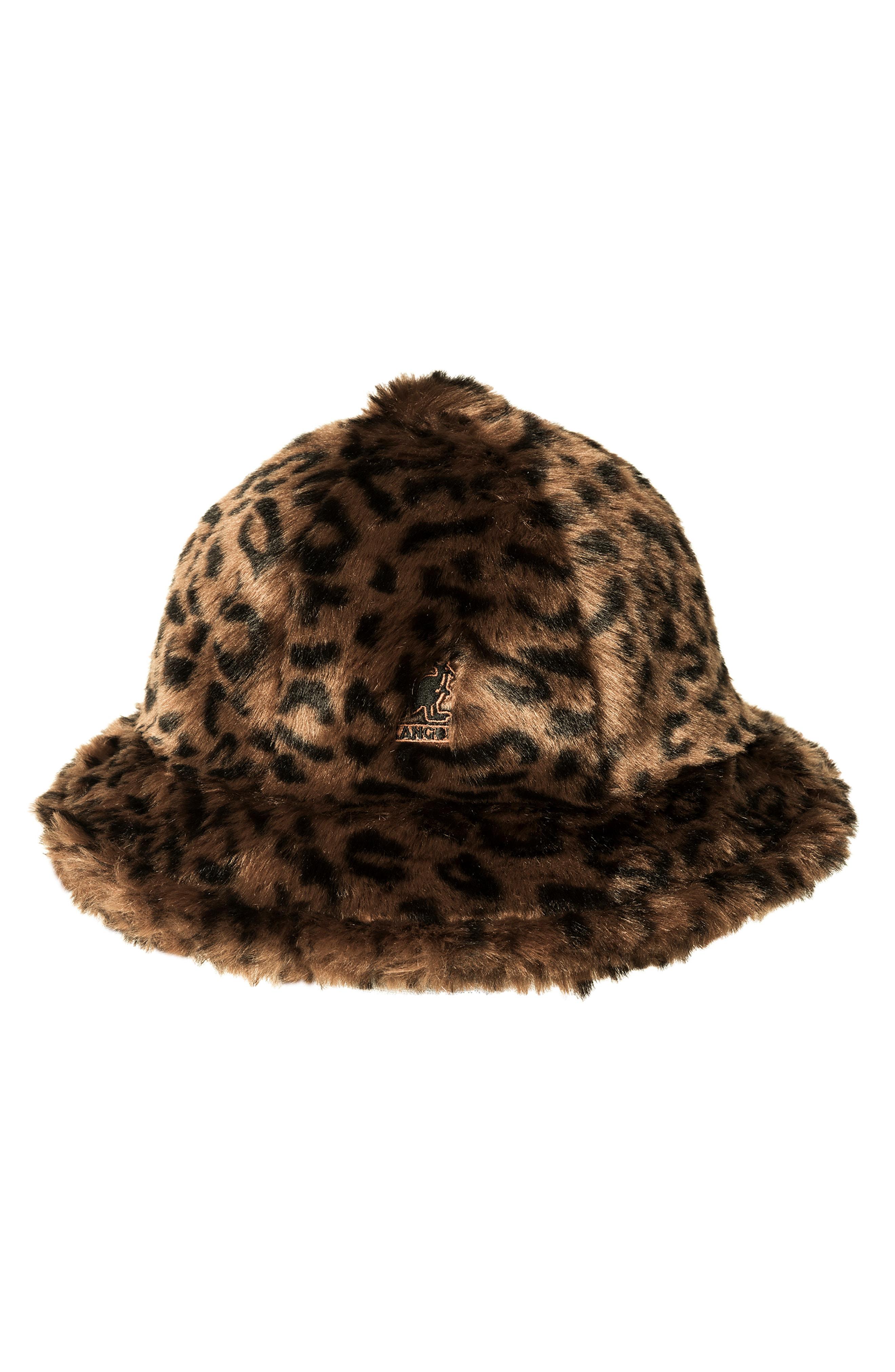 02ef83978c8d9 Kangol Faux Fur Casual Bucket Hat - Brown In Leopard