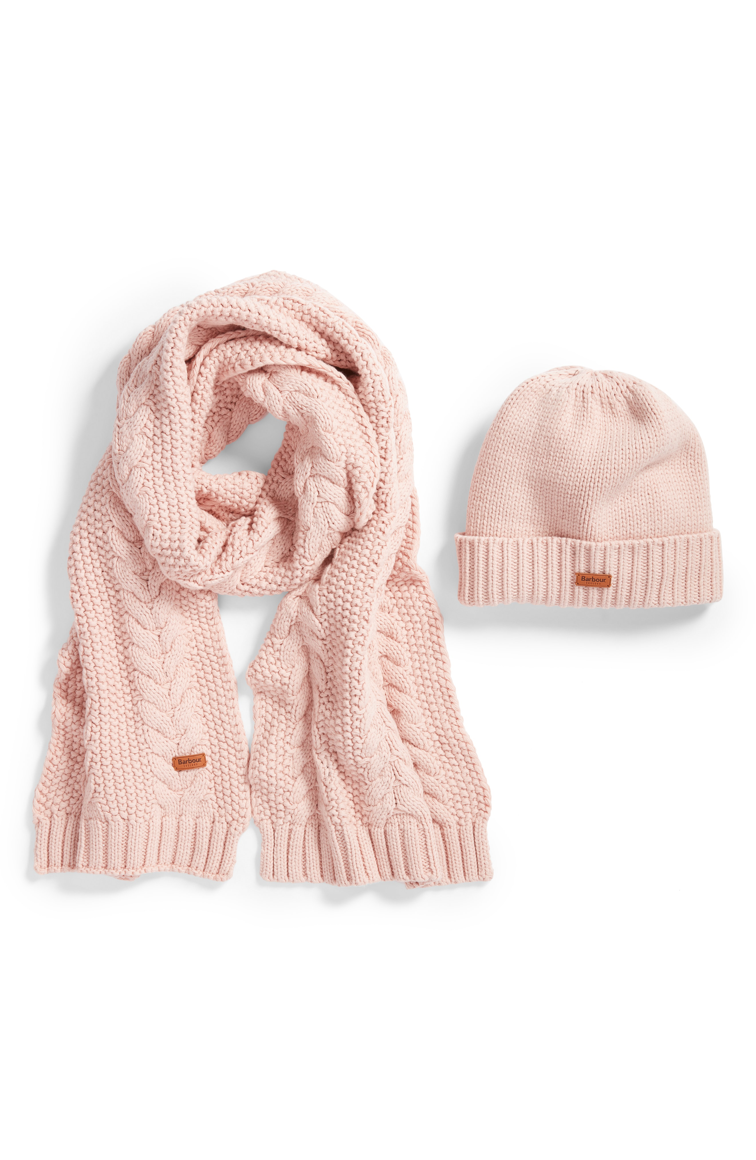 a084442e1 Cable Knit Hat & Scarf Set in Pink