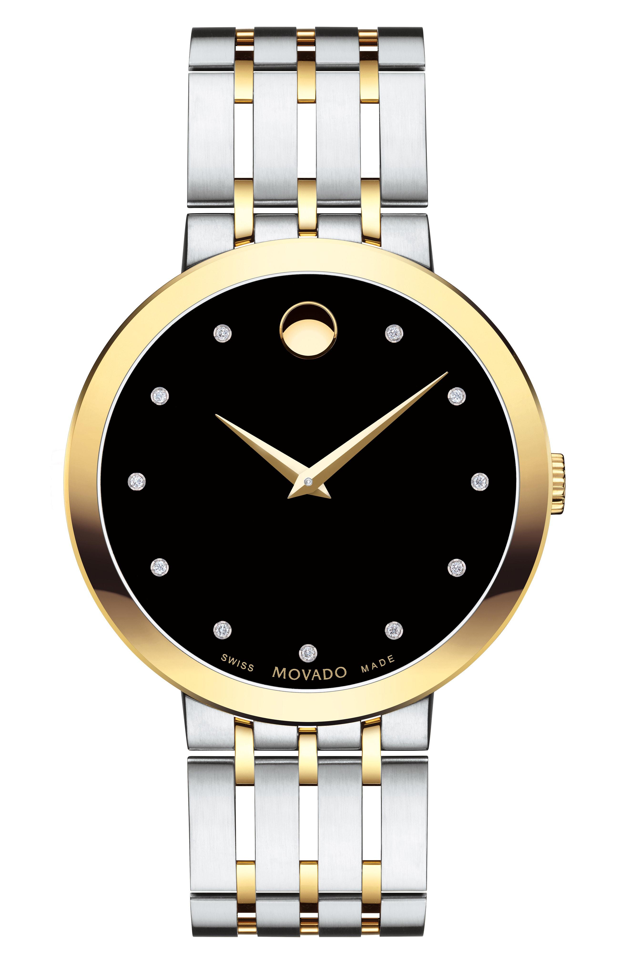 Movado Esperanza Diamond Bracelet Watch, 39Mm In Silver/ Black/ Gold