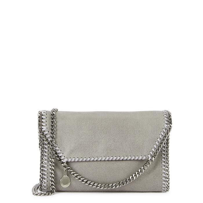 Stella Mccartney Falabella Mini Faux Suede Shoulder Bag In Grey