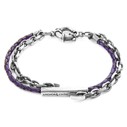 Anchor & Crew Grape Purple Belfast Silver And Braided Leather Bracelet