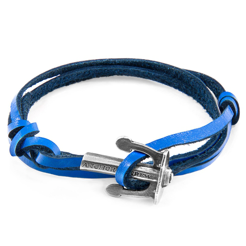 Anchor & Crew Royal Blue Union Anchor Silver And Flat Leather Bracelet