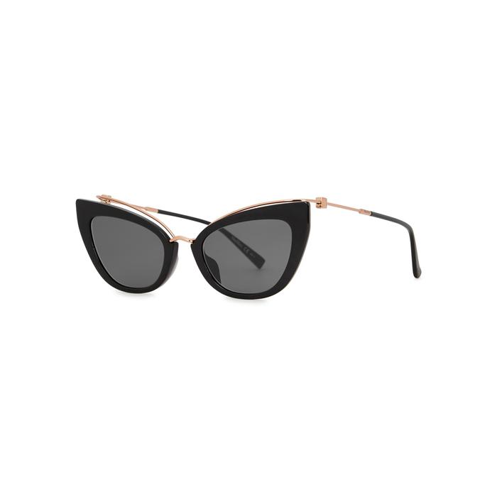 a48bfb185a43 Max Mara Marilyn 53Mm Cat Eye Sunglasses - Black/ Gold | ModeSens