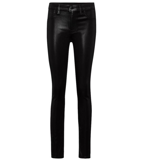 J Brand Maria Coated Skinny Jeans In Black