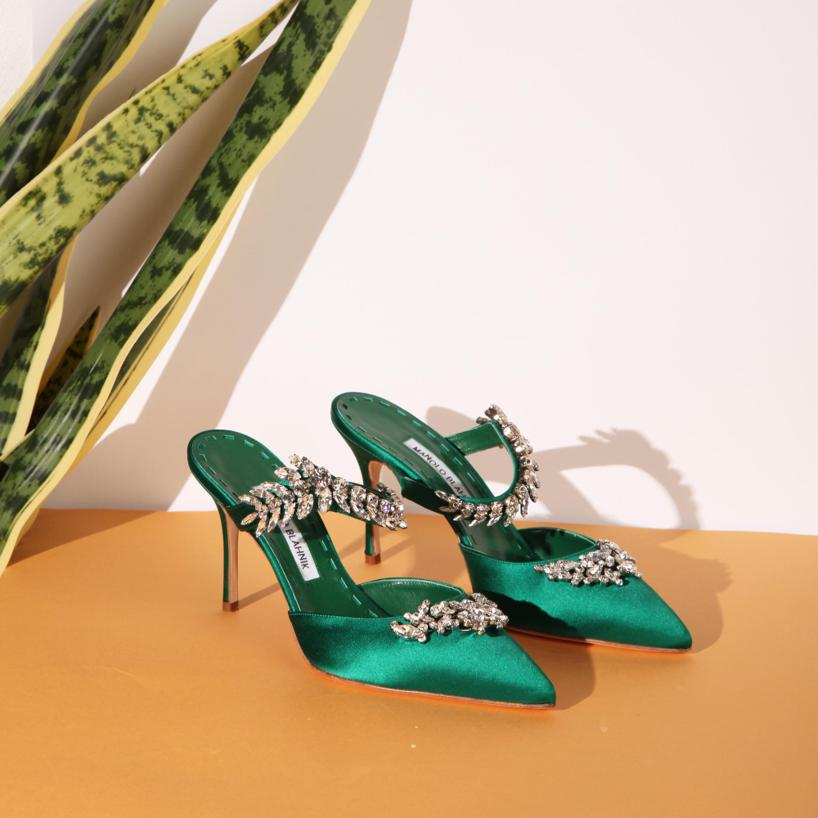 0885e7f313ee2 Manolo Blahnik 90Mm Lurum Swarovski Silk Satin Mules In Emerald ...