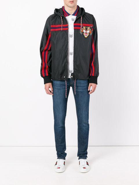 095702a6c68 Gucci Nylon Windbreaker With Angry Cat AppliquÉ In Black