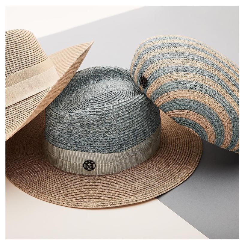 fd293f2f968 Maison Michel Bonnie Striped Straw Hat In Blue Beige