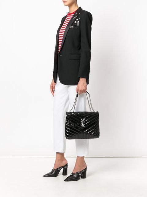 SAINT LAURENT Medium Loulou Chain Bag In Black