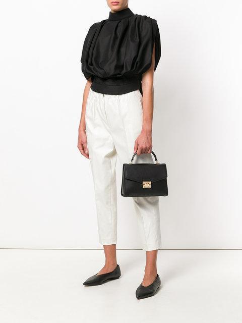 bf767e42f0150 MICHAEL MICHAEL KORS Sloan Top Handle Medium Leather Satchel in Black