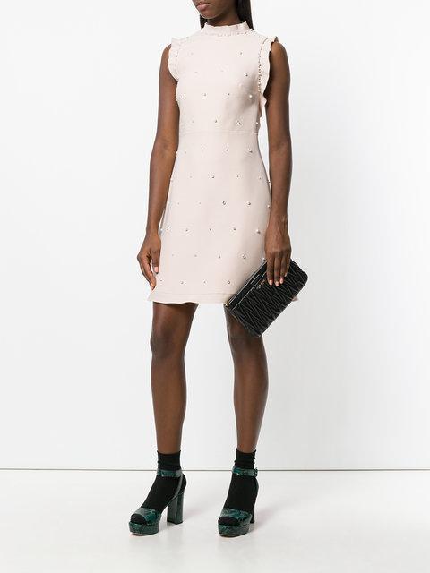 5b439e7cb9b MIU MIU Ruffle-Trimmed Embellished Wool And Silk-Blend Mini Dress in Pastel  Pink