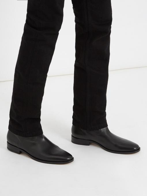 2fabf64814 Saint Laurent Matt 25 Leather Boots In Black | ModeSens