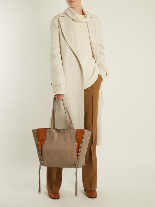 8eff399f0 ChloÉ Milo Medium Leather & Suede Tote Bag In Grey | ModeSens