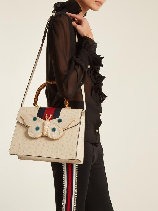 76fb527456b Gucci Falena Medium Ostrich Top-Handle Bag With Moth In Ivory