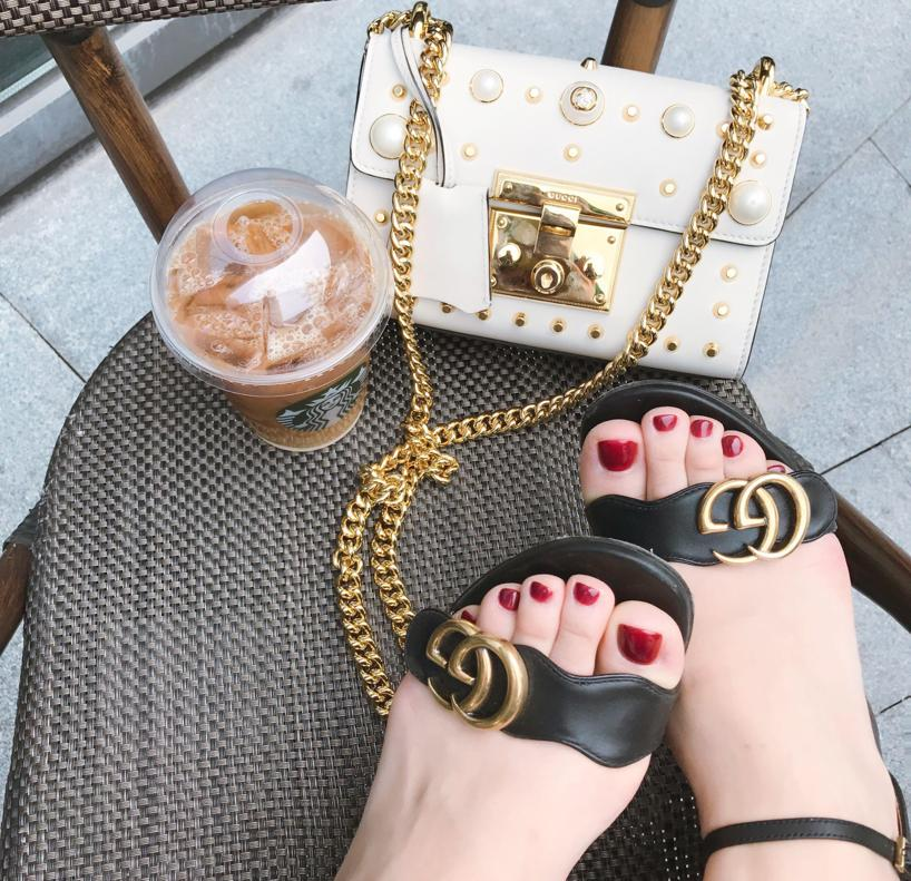 1c6cb6d66 Gucci 75Mm Marmont Gg Leather Sandals, Black In Black/Gold | ModeSens