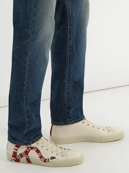 a792181aaf6 Gucci Men s Major Snake-Print Leather High-Top Sneakers