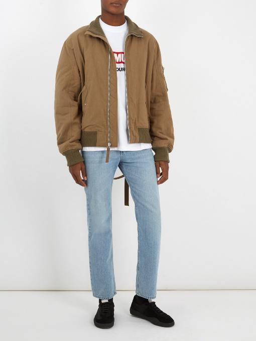 e2d62cd66 Helmut Lang Re-Edition High Collar Bomber In Army-Green | ModeSens