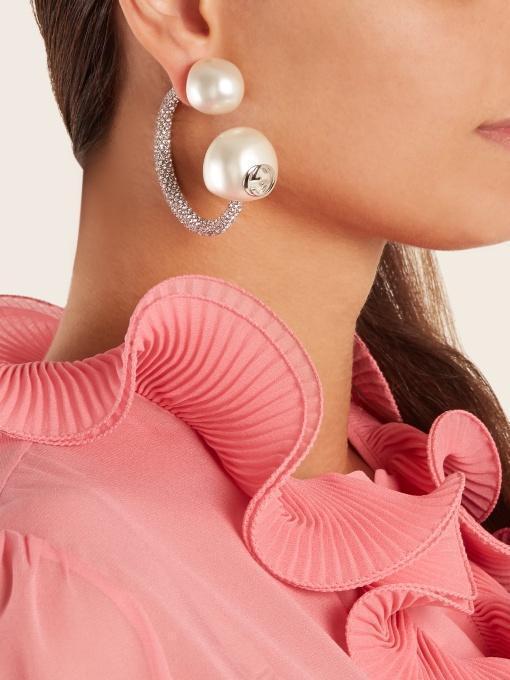 66f9a72412b GUCCI Gucci - Crystal Embellished Pearl Effect Earring - Womens - Pearl