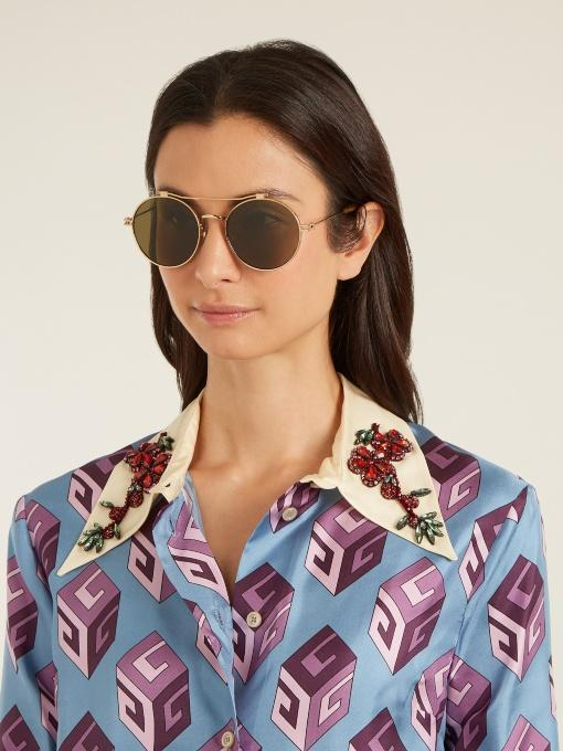 a6551ade GUCCI Gg Wallpaper-Print Embellished Collar Silk Blouse in Light-Blue