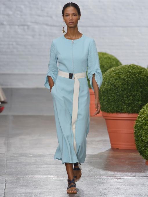 b10728dc5c Tibi Marta Smocked Sleeve Linen Blend Midi Dress In Peacock Blue ...