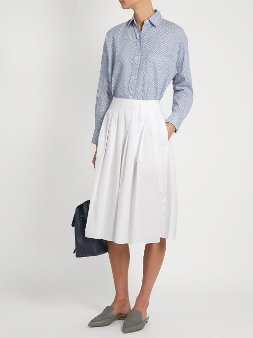 506ca50dfb Vince Stitch-Pleated Wrap Midi Skirt, White | ModeSens