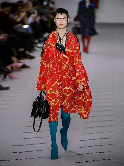 e3eb63f8b34b Balenciaga Draped Chain-Print Combo Dress In Red Print | ModeSens