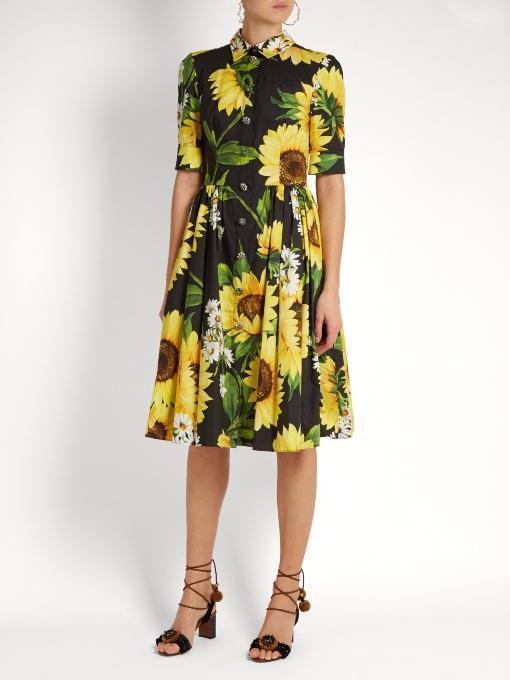30ed8e347ef43 Dolce & Gabbana Half-Sleeve Sunflower-Print Shirtdress, Black/Yellow ...