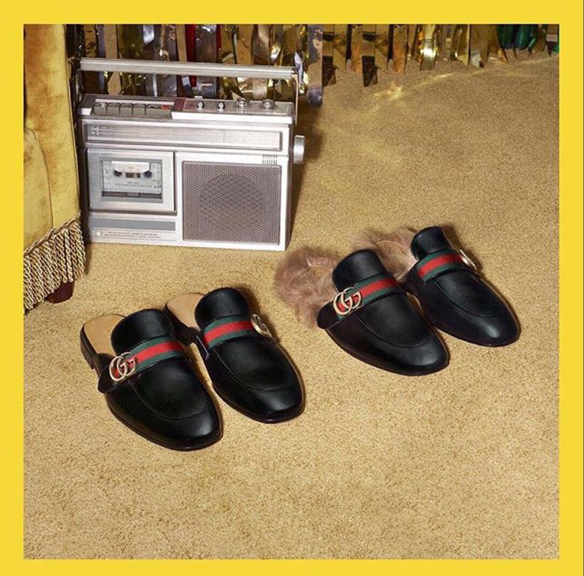 ca22c3b56c4 Gucci Princetown Leather Slipper With Double G