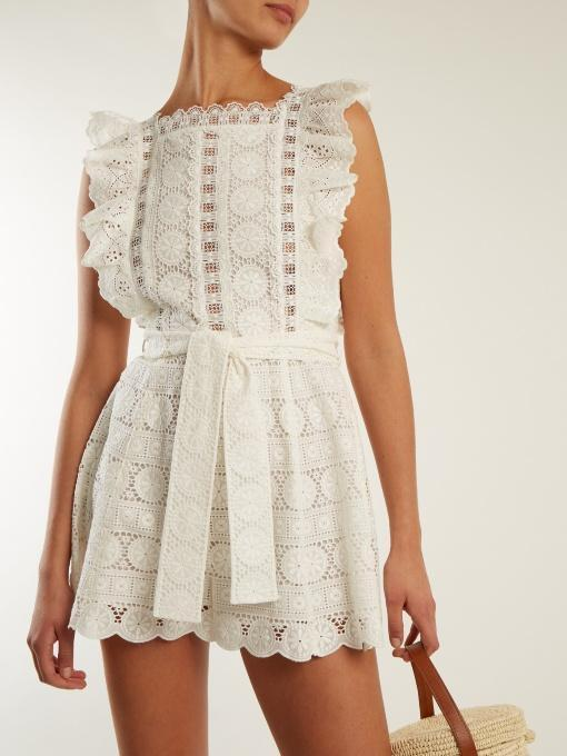 f2dc392e34 ZIMMERMANN Kali Daisy Broderie Anglaise Cotton And Lace Playsuit in Ivory