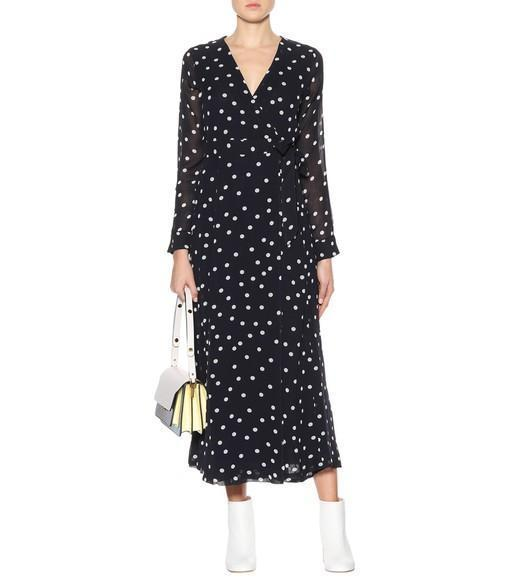 b0f24dbde98b Ganni Polka-Dot Chiffon Wrap Dress In Total Eclipse | ModeSens