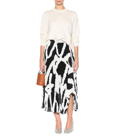 709036220f PROENZA SCHOULER Graphic-Print Cut-Out Hem Pleated-Crepe Midi Skirt in White