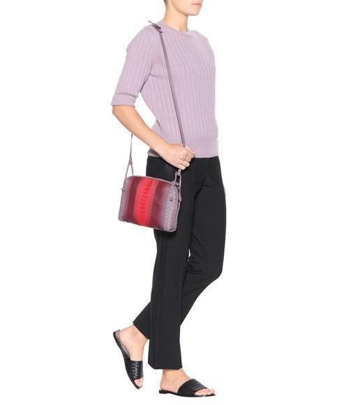 BOTTEGA VENETA Nodini Small Embroidered Intrecciato Leather Shoulder Bag in  Gray cab9b07726245