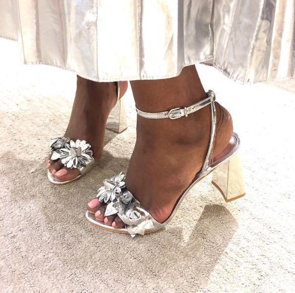 2b56710a2 SOPHIA WEBSTER Lilico Floral-Embellished Metallic Leather Block Heel Sandals  in Silver