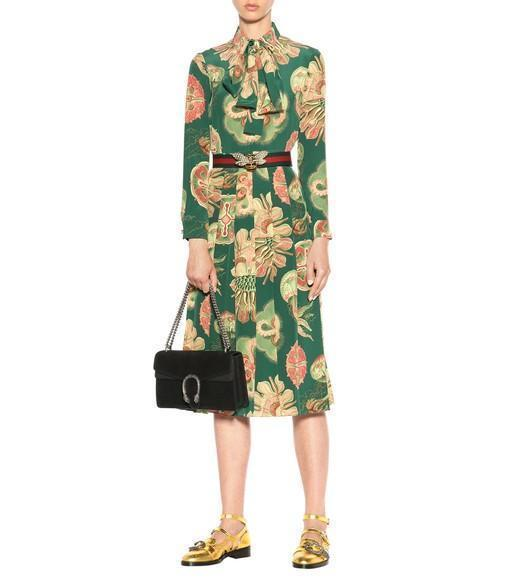 8f8e430de GUCCI Pleated Printed Silk Crepe De Chine Midi Dress in Gucci Lr Greee