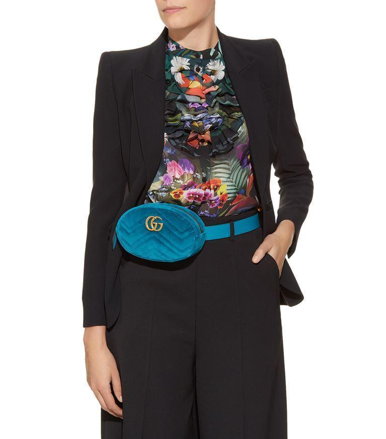 efd66e38978791 Gucci Gg Marmont MatelassÉ Velvet Belt Bag In Blue | ModeSens