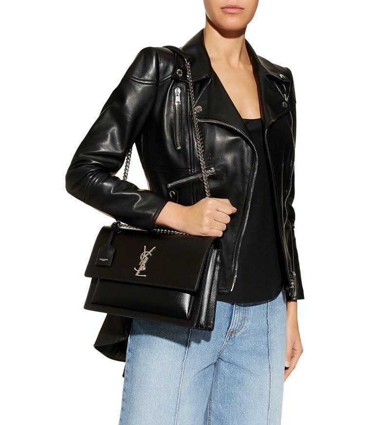 71e8ebb3982 SAINT LAURENT Sunset Monogram Ysl Large Flap-Top Shoulder Bag in Black