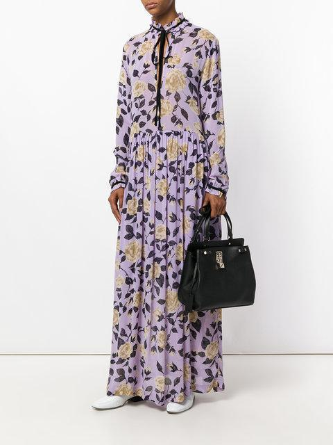 cc1782a1f0c GANNI Carlton Pussy-Bow Floral-Print Georgette Maxi Dress in Pastel Lilac