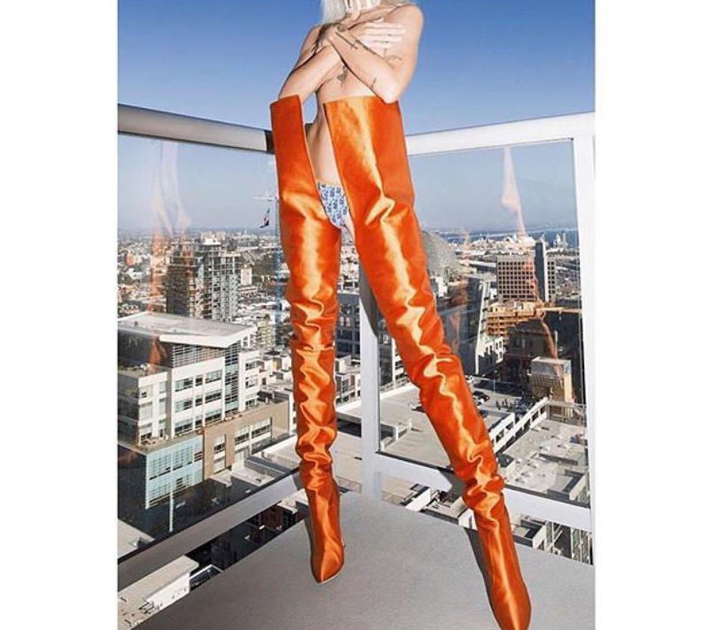 b697ccf545 Vetements Manolo Blahnik Satin Boots In Bright Orange   ModeSens