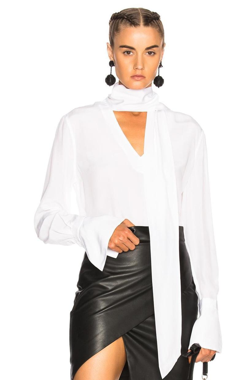 c3fbc04b74db05 Equipment Jacqueleen French-Cuff Tie-Neck Silk Blouse In White ...