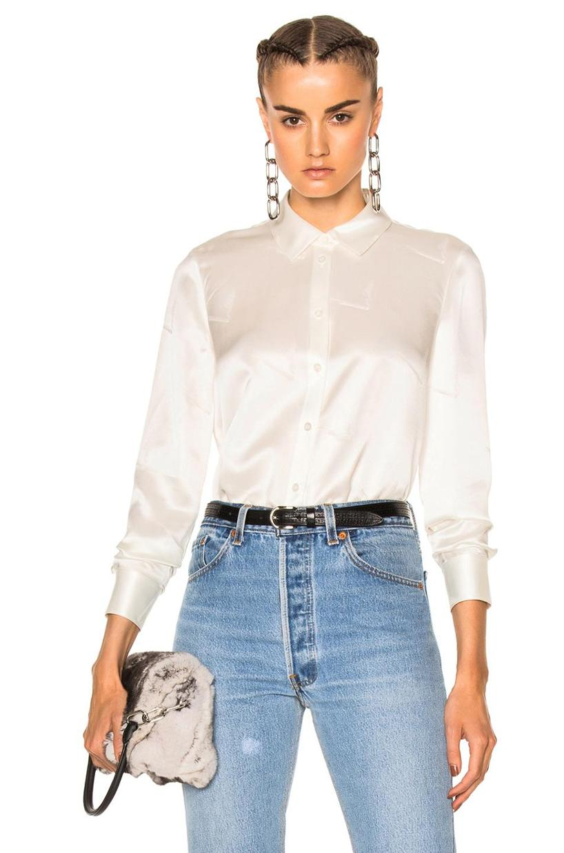 c4c8147c3 Alexander Wang Silk Button-Up Shirt With Cigarette Jacquard In White ...