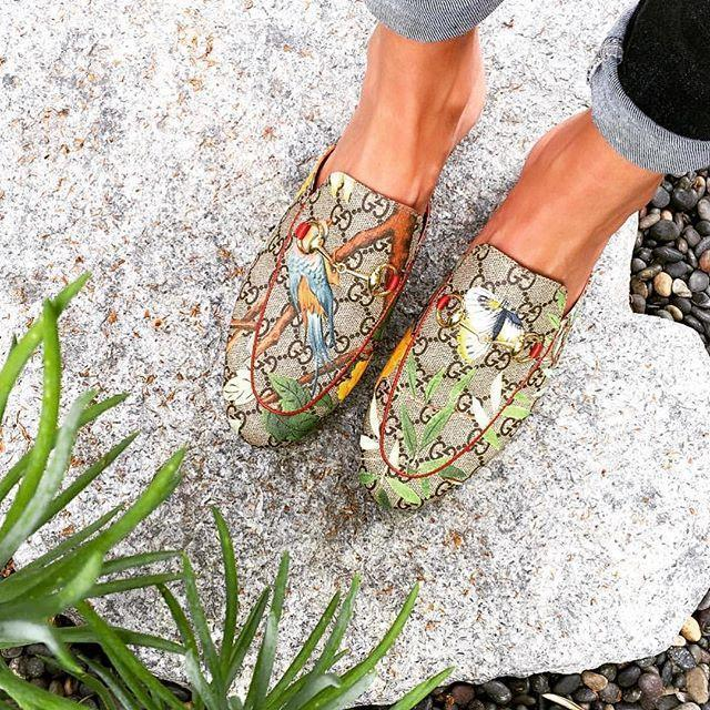 52a6d73f2 Gucci 'Princetown' Floral Print Mule Loafer In Beige | ModeSens