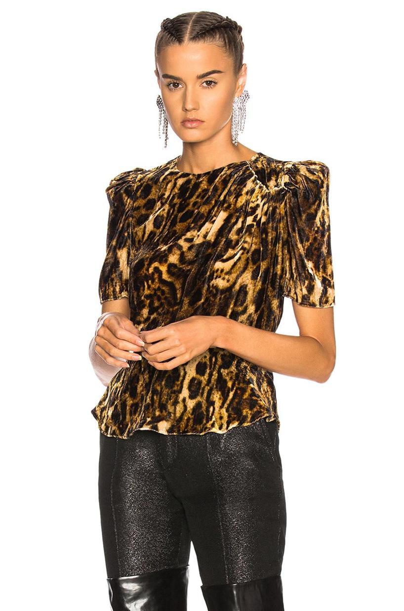 8c52f743ad Isabel Marant Udell Leopard-Print Ruched Velvet Top In Fauve   ModeSens