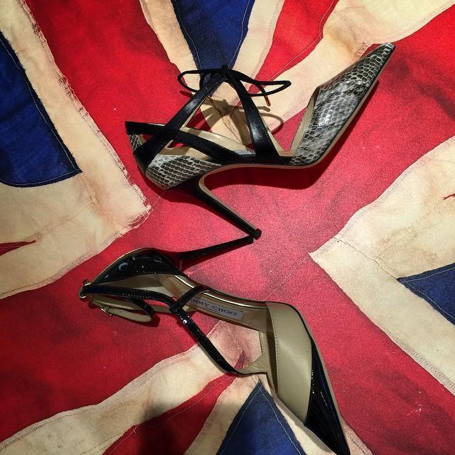 bf0605404b53 JIMMY CHOO Lapris Natural Gloss Elaphe And Black Kid Leather Pointy Toe  Pumps