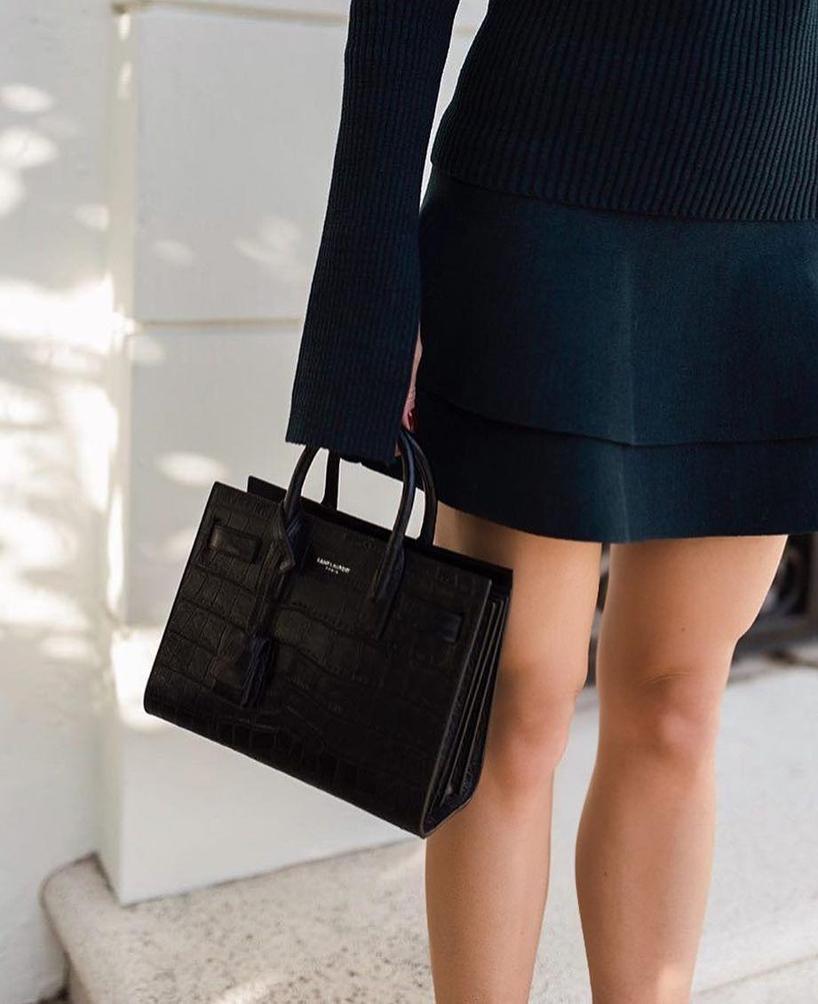 cd924f1b05 SAINT LAURENT Nano Sac De Jour Crocodile-Embossed Leather Bag in Black.  Theory Komiza Tilde Studded-Sleeve Suede Shift Dress ...