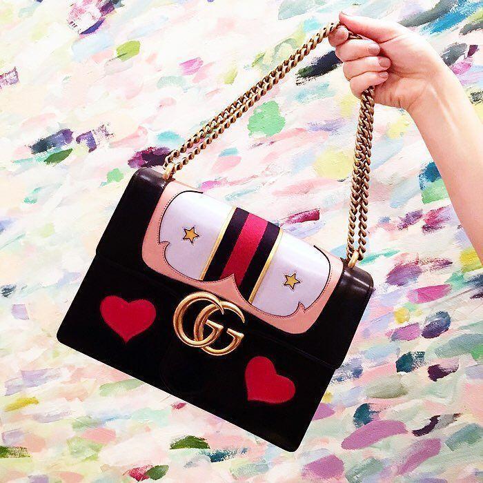 20730ec2326f GUCCI Gg Marmont Medium Web Heart Shoulder Bag, Black/Multi in Black Multi