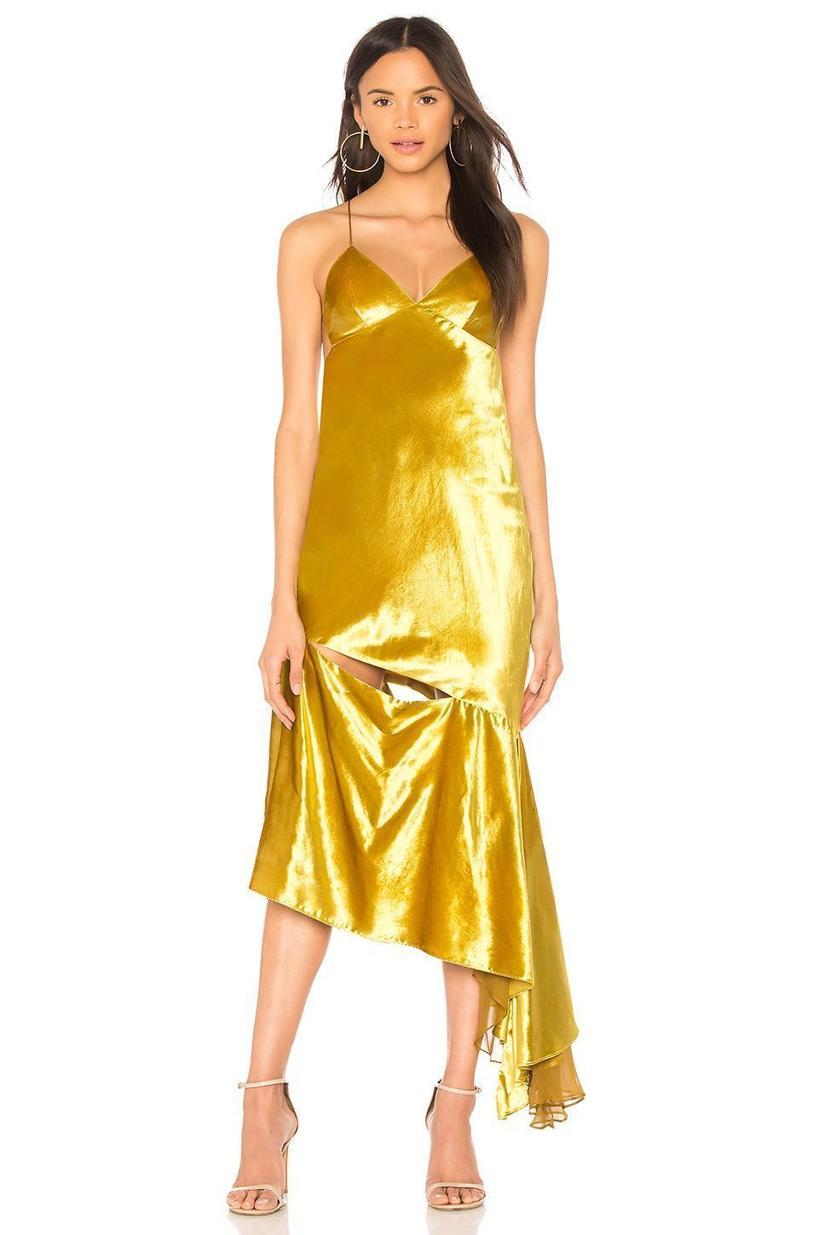 ce50fb104fbff9 Milly Bias Slip Dress In Mustard